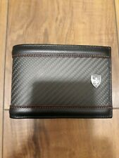 New Ferrari wallet with card case, leather/carbon fiber