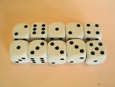 10 x White Dice (16mm) for Traditional Games, Wargames or Roleplaying
