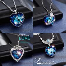 Halskette Herz Anhänger Titanic Flügel Engel 925 Silber Kristall von Swarovski®