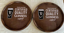 """Wood Barrel Head Guinness Wall Signs - Lot Of 2 - """"Certified Quality Guinness"""""""