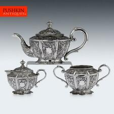 More details for antique 20thc south asian solid silver tea set, cambodia / malaysia c.1910