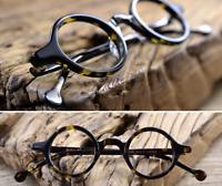 Handmade Acetate Eyeglass Frames Small Round Eyewear Glasses Dark Leopard Retro