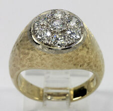 Mens diamond ring 14K 2 tone gold cluster 7 FVS round brilliants 1.06CT sz 8 1/4