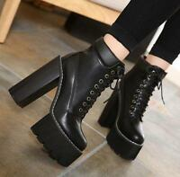 Womens pu lace up chunky high heel ankle boots platform motorcycle shoes punk @