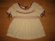 Women's Odd Molly 481 Embroidered Stripe Cream Beige Short Sleeve Top Size 1 – S