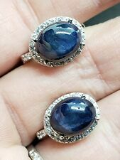 Genuine Blue Star Sapphire Cabochon Earrings New listing