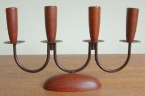 Mid Century Danish 4 arm metal & teak candle holder Luthje design