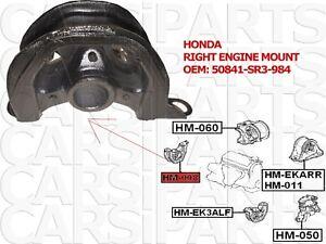 honda support de moteur droit oem 50841-SR3-984