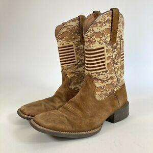 Ariat men's patriot antique mocha sand camo western boots square toe size 10D