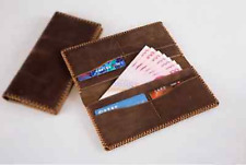 men women wallet purse cow Leather Bifold mobile iphone Holder bag brown Z067