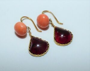 ANTIQUE VICTORIAN 9CT GOLD CORAL AND GARNET DROP EARRINGS DELICATE PEAR SHAPED
