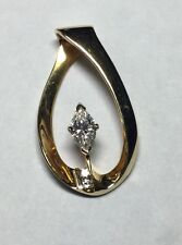 stunning 14kt yellow cold 1/2ct marquise diamond slide pendant