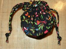 Vera Bradley MING BLACK RED ORIENTAL Jewelry Travel Storage Pouch Drawstring Bag