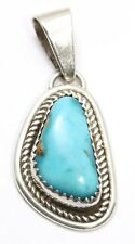 Vintage Navajo SIGNED JB Sterling Silver Ornate Blue Turquoise Drop Pendant 925