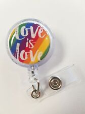 Love is Love Pride Rainbow. Retractable Badge Name Tag ID Holder 3D