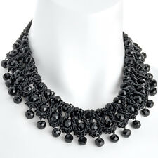 Modeschmuck schwarz gewebt Glas Kristall Lagenlook Statement Halsband Halskette