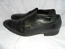 ALDO MEN'S BLACK LEATHER SLIP ON SHOES WITH METAL  SIZE UK 8 EU 42  VGC