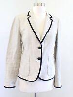 J Crew Beige Black Linen Tipped Classic Schoolboy Blazer Suit Jacket Size 4