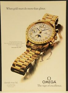 Omega Speedmaster Automatic Moon Phase 18K gold Chronograph Watch Print Ad
