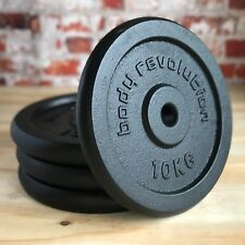 """4 X 10kg Cast Iron Weight Plates Barbell 1"""" Dumbbell Weights Home Gym Fitness"""