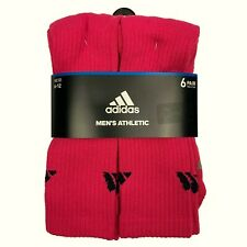 6-Pack Adidas Mens And Womens Athletic Red Cushioned Crew Socks, size L