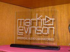MARK LEVINSON ETCHED GLASS SIGN W/BLACK OAK BASE