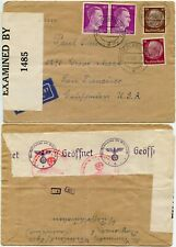 WW2 INTERRUPTED MAIL GERMANY 3rd REICH CENSORED NOV 1941 to USA AIRMAIL + TAPE