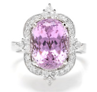 8.15 Carats NATURAL KUNZITE and DIAMOND 14K Solid White Gold Ring