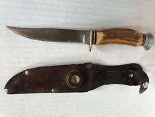 RARE Vintage IDEAL PRODUCTS INC Knife w/ Stag Handle & Leather Sheath & Compass