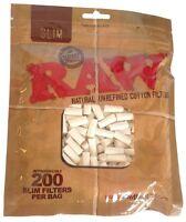 200 RAW Slim Filter Tips -  Natural Unrefined - 100% COTTON