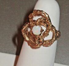 Vtg Ladies RING- OPAL GEMSTONE+14k solid YELLOW GOLD Branch Weave-Size 6.25- EUC