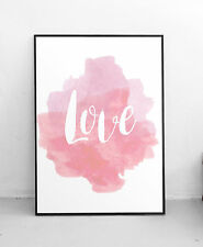 Love Watercolour Pink Blush Life Quote Wall Art Print Word Typography Poster A3