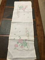 Vintage Hand-Embroidered Runner/Dresser Scarf Pink/Green Flowers 13 x 39