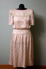 Vintage Jessica Mcclintock 80s Pink Dress 7 Large Collar Shoulder Pads Modest