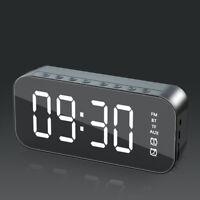 Poratable LED Mirror Digital Alarm Clock Wireless Bluetooth Speaker MP3 FM Radio