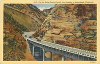 Linen Postcard Ca I229 On the Ridge Route Cut Off Los Angeles to Bakersfield