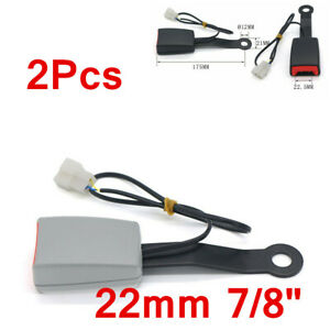 2x 22mm Car Accessories Seat Belt Buckle Padding Socket Plug Connector w/Cable