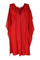 STELLA McCARTNEY Silk Linen Blend Red V Neck Dress (40)