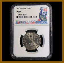 British India 1 Rupee, 1950 (B) Bombay NGC MS 64 Ashoka Lion