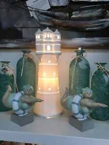 """Maritime Deko Porzellan Lampe """"Leuchtturm weiß"""" H 35cm"""