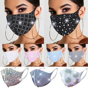 3D Embellished Sparkly Rhinestone Crystal Glitter Bling Resuable Face Mask Cover