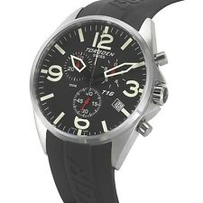 New Torgoen Swiss T16 Men's Chronograph Sport Pilot Watch Black PU Strap T16BK45