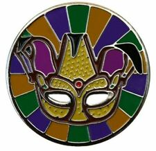 Jester Mardi Gras Mask Golf Ball Marker with Mardi Gras Hat Clip