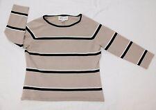 Casual Corner Annex women's top beige striped size M 3/4 sleeve