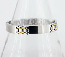 Mens Triple ID Panel Bracelet in Stainless Steel with Gold Interlinks