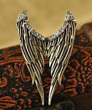 Anillo de diamantes de imitación de grandes alas de Ángel Pluma Ajustable Vintage Bronce Cristales