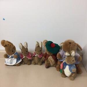 Beatrix potter Vintage Bunny Lot Of 6 Peter & Mrs Peter Cottontail Rare AR96
