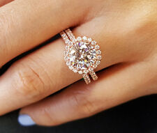 2.10 Ct Rose Gold Halo Round Cut Diamond Engagement Ring Set F,SI2 EGL 14K