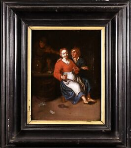 17th CENTURY FLEMISH OLD MASTER OIL ON CANVAS - FIGURES DRINKING IN A TAVERN