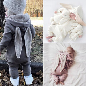 UK Infant Baby Boy Girl Clothes Bunny Ears Jumpsuit Romper Overall Easter Outfit
